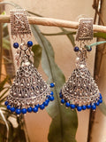 German silver large ink blue Jhumka