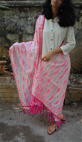 Pop pink phulkari dupatta with multi colour embroidery