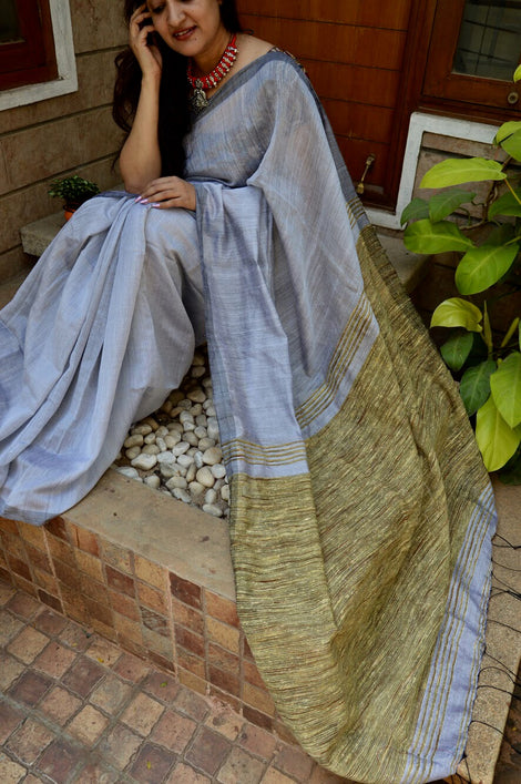 Grey cotton gicha saree