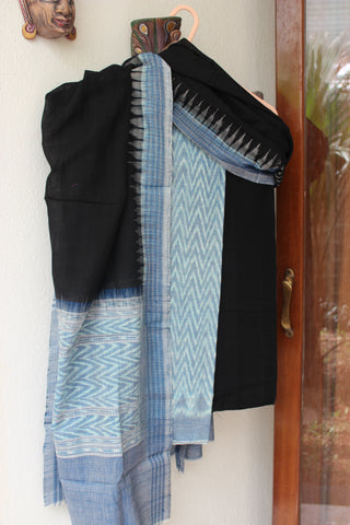 Sky Blue with Black Exclusive Sambalpuri dress material