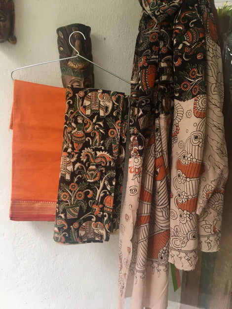 Orange and Black Cotton Kalamkari Dress Material