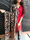 Black with White Leaf Prints Chanderi Dupatta