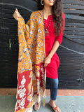 Mustard with Multicolor flowers & Sparrow Prints Silk Dupatta