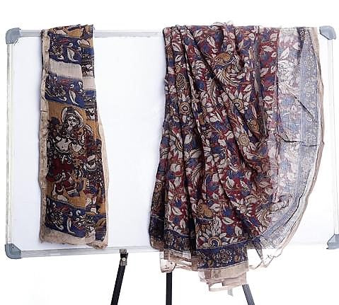 Multicolor Chanderi Saree with Kalamkari Prints