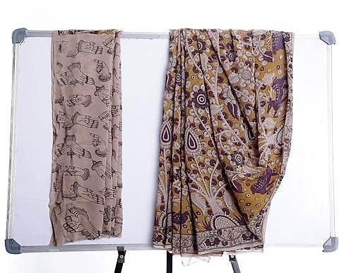 Multicolor Georgette Saree with Kalamkari Prints
