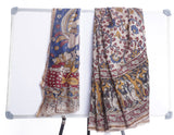 Multicolor Chanderi Pattu Saree with Kalamkari Prints