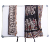 Black with Multicolor Chanderi Pattu Saree with Kalamkari Prints