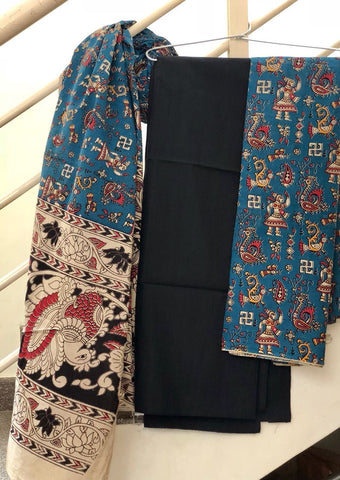 Black and Blue Cotton Kalamkari Dress Material