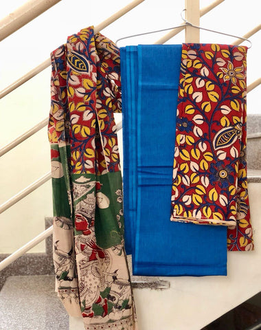 Blue and Red Cotton Kalamkari Dress Material