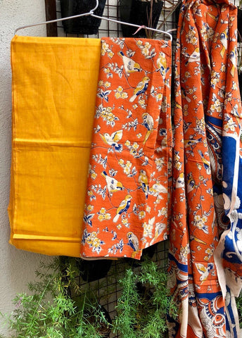 Yellow and Orange Cotton Kalamkari Dress Material
