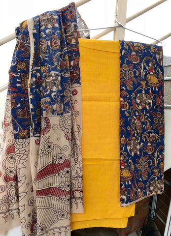 Yellow and Blue Cotton Kalamkari Dress Material
