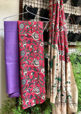 Lavendar and pinkish red Cotton Kalamkari Dress Material