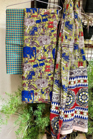 Checkered Cotton Kalamkari Dress Material