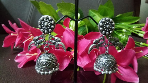 German Silver peacock design Jhumkas Earrings