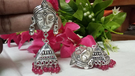 German Silver Maa Durga Jhumkas Earrings