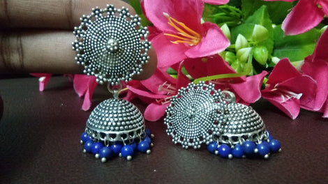 German Silver Classic Jhumkas Earrings