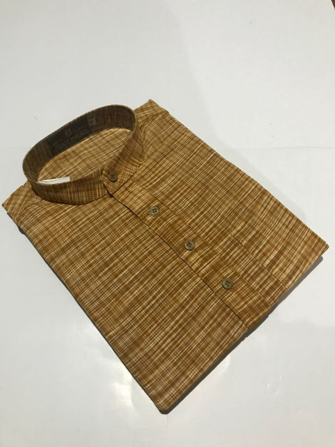 Brown checks design Long Khadi Kurta for Men