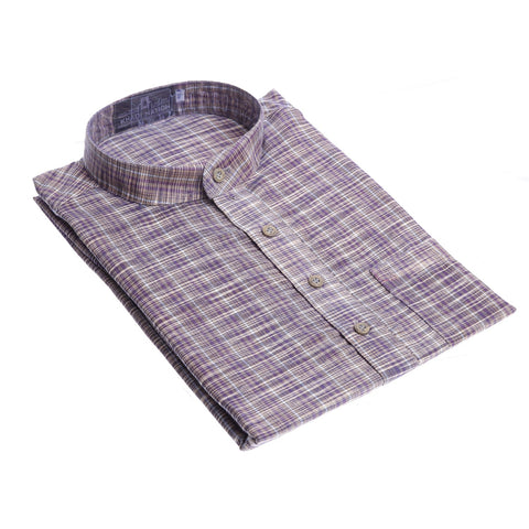 Violet with white combo Khadi long Kurta for Men