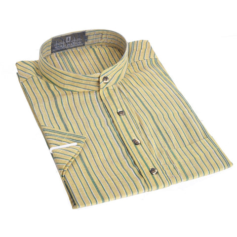 Yellow with Sea Green Stripes Short Khadi Kurta for Men