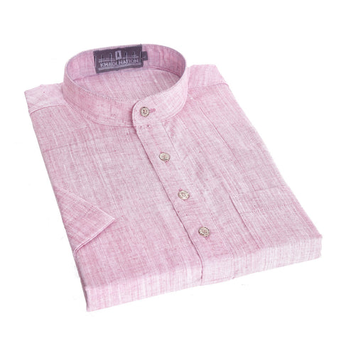 Light Pink color Short Khadi Kurta for Men