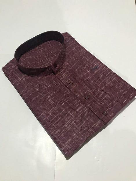 Purple color Short Khadi Kurta for Men