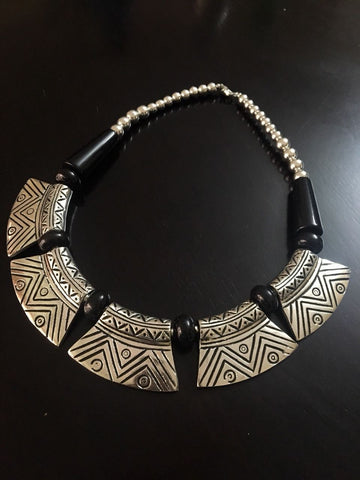 Designed Classic German & Silver Neckpiece with Black Beads