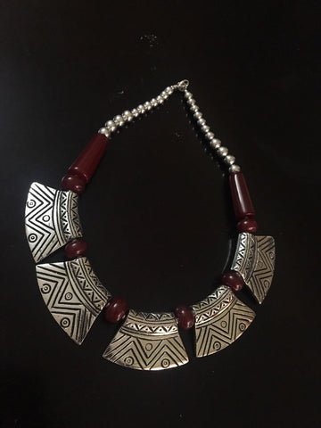 Designed Classic German & Silver Neckpiece with Brown Beads