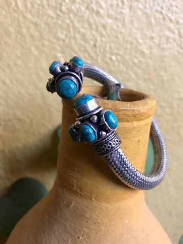 German Silver Cyan Cut Stone Kada