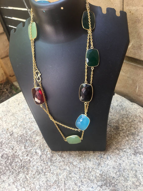 Long Chain with Multicolor Natural Cut Stones Design - 4