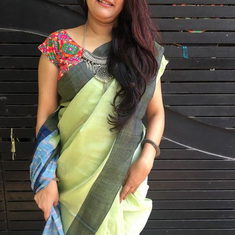 Light Green With Cyan Pallu Narayanpet Cotton Saree