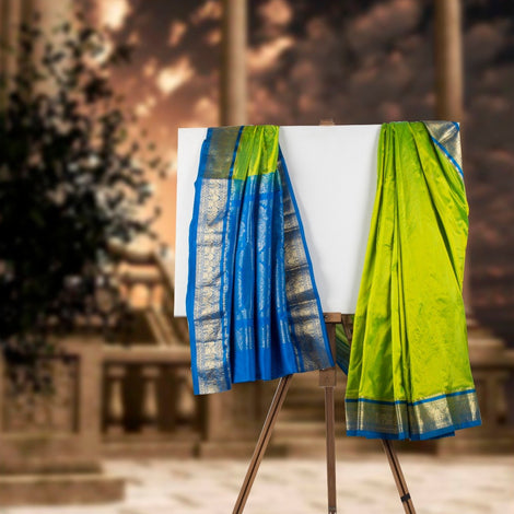 Lime Green Kanjeevaram Silk Saree
