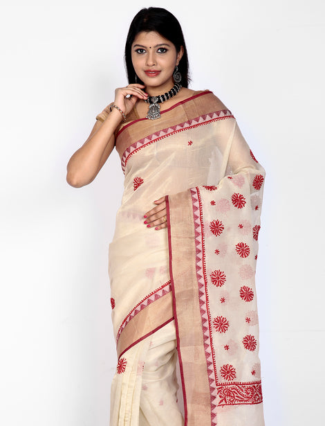 Off-white kota cottonsilk saree with chikankari work