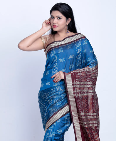 Royal blue sambalpuri ikkat silk saree