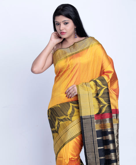 Mustard Yellow With Black Khadi Raw Silk Saree