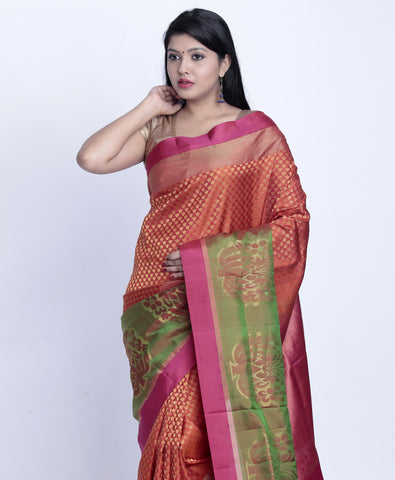 Traditional red with green pure kanjeevaram silk saree