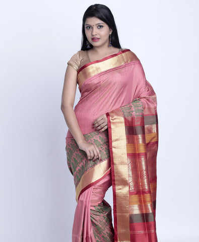 Peach Khadi Silk Saree