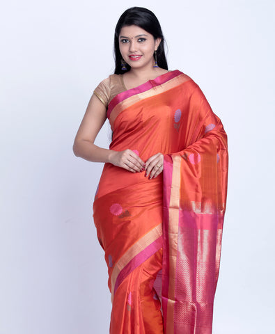 Orange Handloom Khadi soft Silk Saree