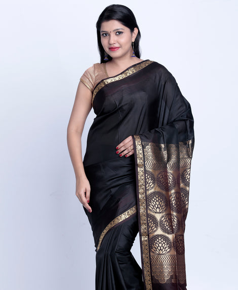 Black Handloom Khadi raw Silk Saree