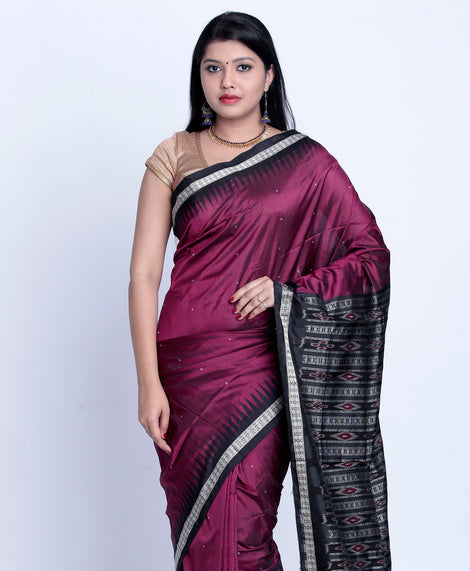 Purple sambalpuri ikkat silk saree