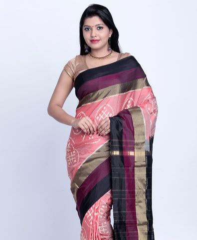 Peach with Orange Ikkat Silk Saree