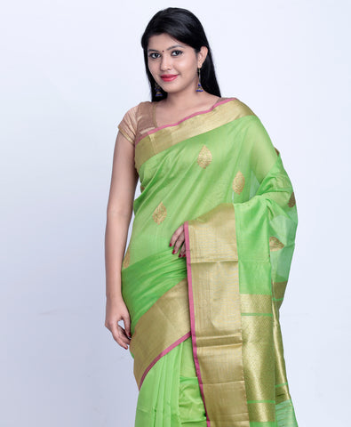 Fresh green banarasi silk cotton saree