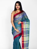 Greyish linen saree with maroon border
