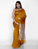 Brown maheshwari silk saree