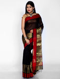 Black maheshwari silk saree with red zari border