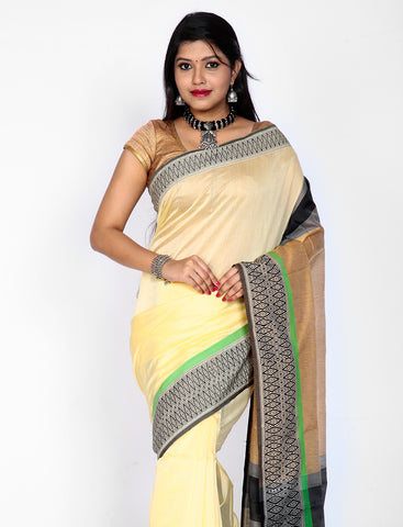 Cream maheshwari silk saree