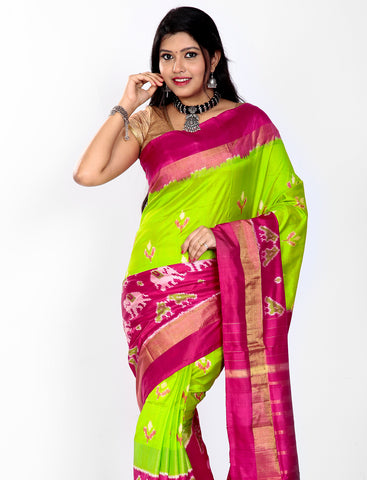 Green ikkat silk saree