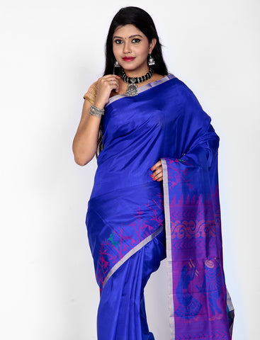 Peacock blue arani silk saree