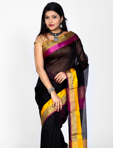 Black maheshwari silk saree with contrast border