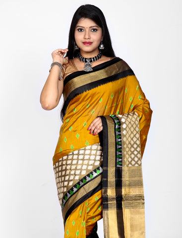 Mustard yellow ikkat silk saree