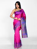 Pink with purple arani silk saree